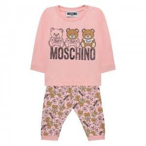 Комплект из лонгслива и брюк Moschino. Цвет: розовый