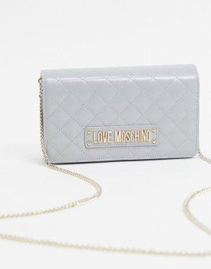 Серая стеганая сумка через плечо с цепочкой -Серый Love Moschino