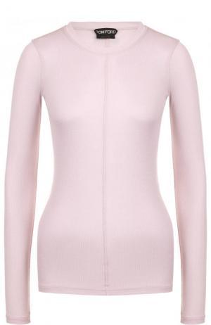 Приталенный шелковый пуловер с круглым вырезом Tom Ford. Цвет: сиреневый