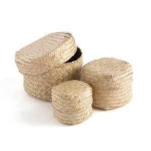 Комплект из 3 плетеных коробок LaRedoute. Цвет: бежевый