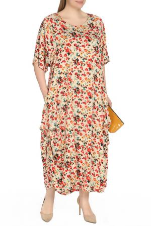 Платье Amazone. Цвет: бежевый, принт