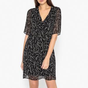 Платье с запахом, Эксклюзив от Brand Boutique IKKS. Цвет: рисунок черный
