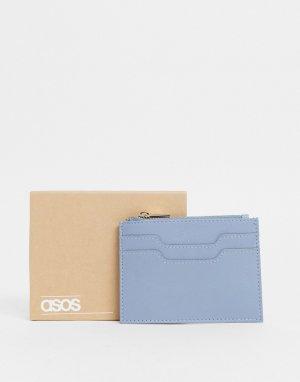 Голубая кожаная кредитница на молнии -Голубой ASOS DESIGN