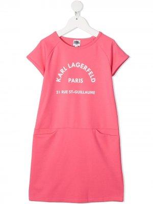 Платье-футболка с логотипом Karl Lagerfeld Kids. Цвет: розовый