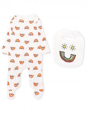 Комплект из пижамы и нагрудника с принтом Stella McCartney Kids. Цвет: белый