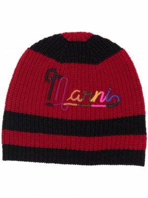 Полосатая шапка бини с вышитым логотипом Marni. Цвет: черный