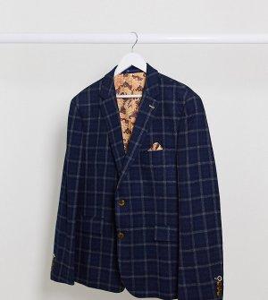 Зауженный пиджак в клетку Plus-Темно-синий Harry Brown