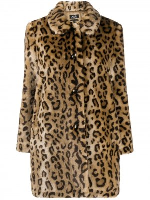 Шуба с леопардовым принтом A.P.C.. Цвет: желтый