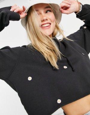 Черная худи с вышивкой маргариток -Черный цвет Hollister