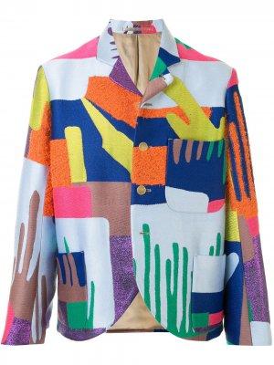 Пиджак свободного кроя в технике пэчворк Walter Van Beirendonck. Цвет: разноцветный