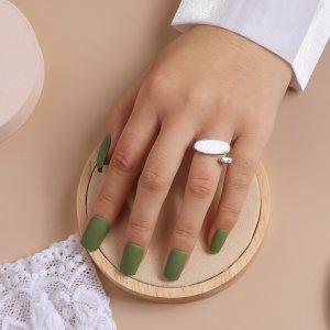 Открытое кольцо Овальный SHEIN. Цвет: серебряные