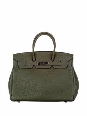 Сумка Birkin 35 pre-owned Hermès. Цвет: зеленый