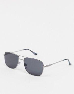 Квадратные солнцезащитные очки в черной оправе -Серый Jeepers Peepers