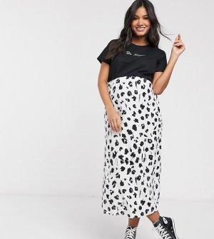 Белая юбка миди с леопардовым принтом ASOS DESIGN Maternity-Мульти Maternity