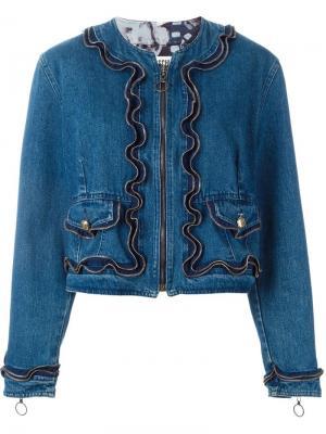 Джинсовая куртка на молнии Moschino Pre-Owned. Цвет: синий