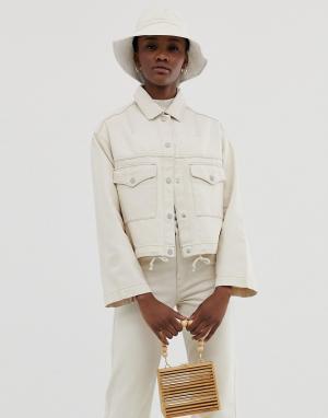 Серовато-бежевая джинсовая куртка со шнурком -Кремовый Weekday