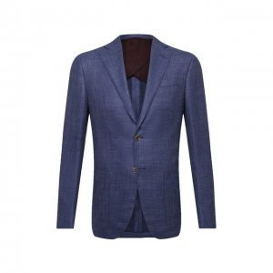 Пиджак из шелка и шерсти Luciano Barbera. Цвет: синий