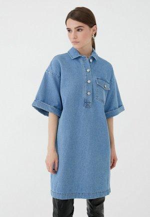 Платье джинсовое Zarina Exclusive online. Цвет: голубой