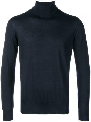 Приталенный свитер с высоким воротом Cruciani. Цвет: синий
