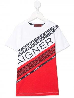 Футболка с логотипом Aigner Kids. Цвет: красный