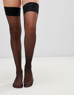 Черные чулки с атласной резинкой -Черный цвет Gipsy