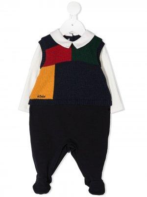Комбинезон для новорожденного в стиле колор-блок Le Bebé Enfant. Цвет: синий