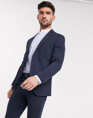 Темно-синий приталенный пиджак из переработанного полиэстера Jack & Jones