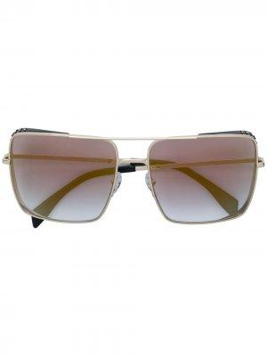 Солнцезащитные очки в квадратной оправе Moschino Eyewear. Цвет: золотистый