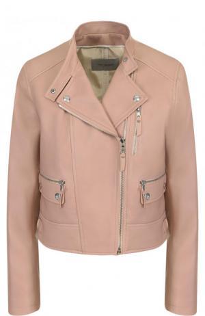 Укороченная кожаная куртка с косой молнией Yves Salomon. Цвет: розовый