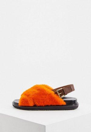 Сандалии Marni. Цвет: оранжевый