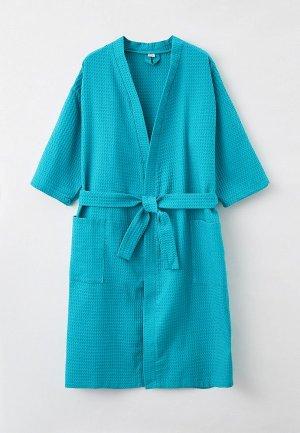 Халат домашний Bio-Textiles. Цвет: бирюзовый