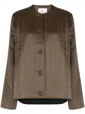 Стеганая куртка без воротника Folk. Цвет: зеленый