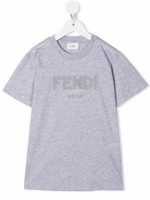 Embroidered-logo short-sleeve T-shirt Fendi Kids. Цвет: серый