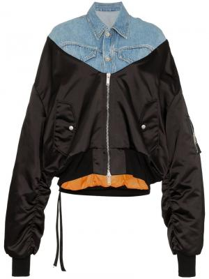 Куртка-бомбер с джинсовыми панелями Unravel Project. Цвет: черный
