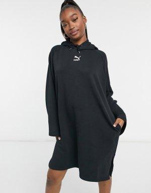 Черное платье-худи с длинными рукавами PUMA Classics-Черный цвет