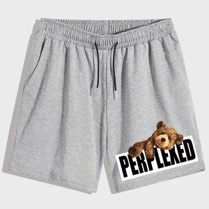 Мужской Спортивные шорты с принтом медведя и буквы на кулиске SHEIN. Цвет: светло-серый