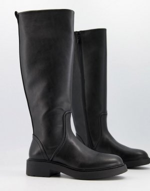 Черные высокие сапоги -Черный цвет Bershka