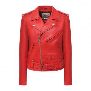 Кожаная куртка Polo Ralph Lauren. Цвет: красный