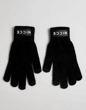 Черные перчатки с логотипом Nicce London. Цвет: черный