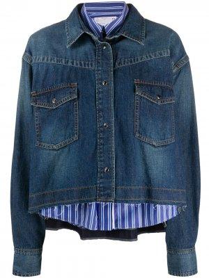Многослойная джинсовая куртка Sacai. Цвет: синий