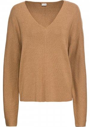 Пуловер оверсайз bonprix. Цвет: бежевый