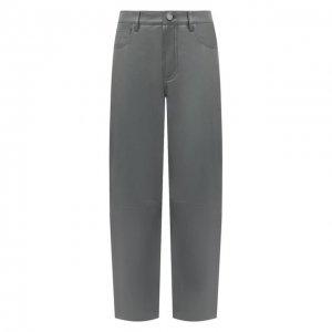 Кожаные брюки DROMe. Цвет: серый