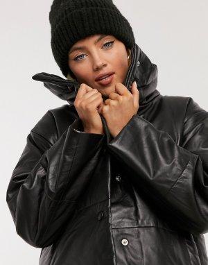 Черная кожаная куртка-бомбер с утеплителем -Черный Muubaa