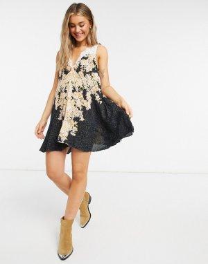 Платье-комбинация -Черный Free People