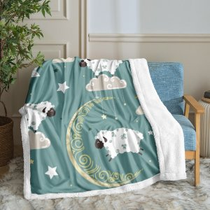 Одеяло с узором овцы плюшевый SHEIN. Цвет: многоцветный