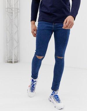 Синие джинсы стретч с напылением и рваными коленями -Синий ASOS DESIGN