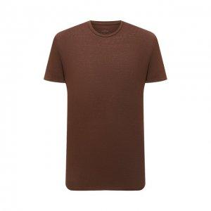 Льняная футболка Altea. Цвет: коричневый