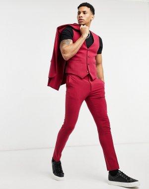 Красные костюмные брюки супероблегающего кроя -Красный ASOS DESIGN