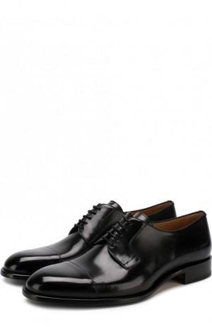 Кожаные дерби на шнуровке Brioni. Цвет: черный