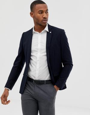Темно-синий приталенный пиджак в тонкую полоску Avail London